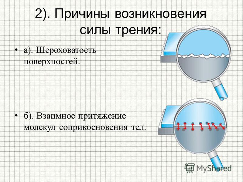 2). Причины возникновения силы трения: а). Шероховатость поверхностей. б). Взаимное притяжение молекул соприкосновения тел.