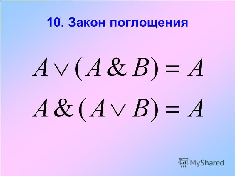 10. Закон поглощения