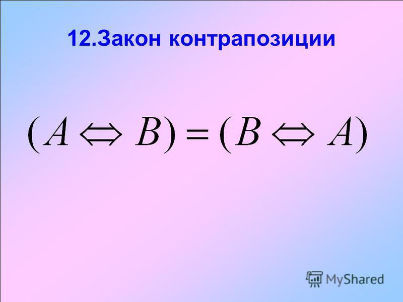 12. Закон контрапозиции