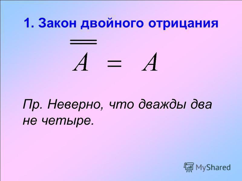 1. Закон двойного отрицания Пр. Неверно, что дважды два не четыре.