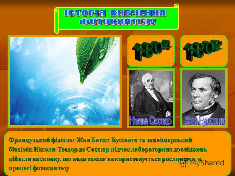 Французький фізіолог Жан Батіст Буссенго та швейцарський біохімік Ніколя-Теодор де Соссюр підчас лабораторних досліджень дійшли висновку, що вода також використовується рослинами в процесі фотосинтезу