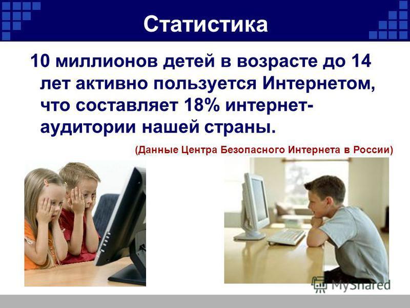 Статистика 10 миллионов детей в возрасте до 14 лет активно пользуется Интернетом, что составляет 18% интернет- аудитории нашей страны. (Данные Центра Безопасного Интернета в России)
