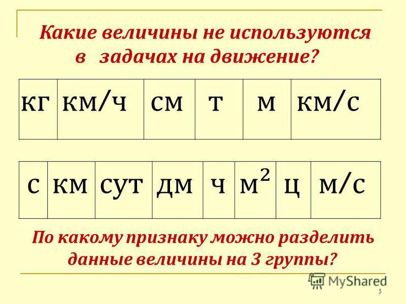 Какие величины не используются в задачах на движение? кг км / ч смтм км / с скмсутм²цчдм м/см/с По какому признаку можно разделить данные величины на 3 группы? 5