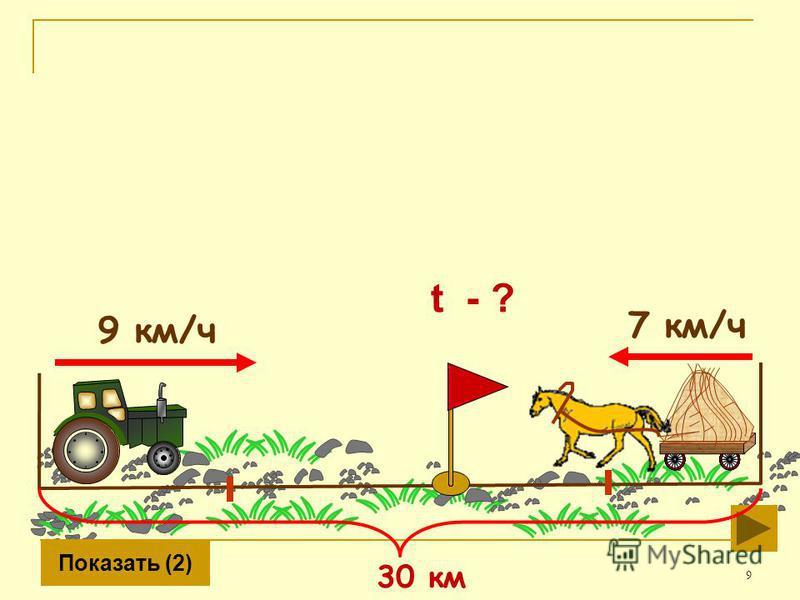 9 9 км/ч 7 км/ч Показать (2) 30 км t - ?
