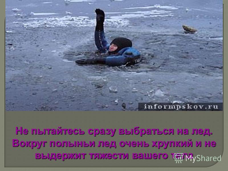 Не пытайтесь сразу выбраться на лед. Вокруг полыньи лед очень хрупкий и не выдержит тяжести вашего тела