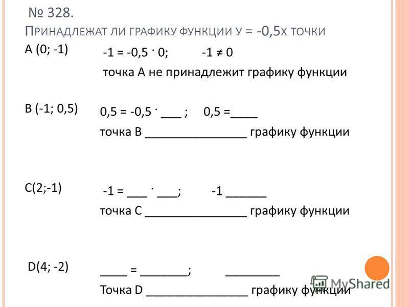 328. П РИНАДЛЕЖАТ ЛИ ГРАФИКУ ФУНКЦИИ У = -0,5 X ТОЧКИ А (0; -1) В (-1; 0,5) С(2;-1) D(4; -2) -1 = -0,5 · 0; -1 0 точка А не принадлежит графику функции 0,5 = -0,5 · ___ ; 0,5 =____ точка В _______________ графику функции -1 = ___ · ___; -1 ______ точ