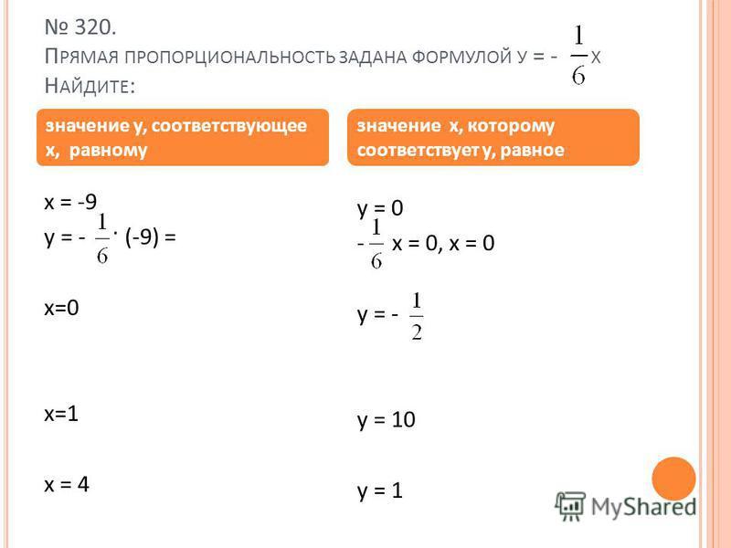 320. П РЯМАЯ ПРОПОРЦИОНАЛЬНОСТЬ ЗАДАНА ФОРМУЛОЙ У = - X Н АЙДИТЕ : x = -9 y = - · (-9) = x=0 x=1 x = 4 y = 0 - x = 0, x = 0 y = - y = 10 y = 1 значение у, соответствующее x, равному значение x, которому соответствует у, равное