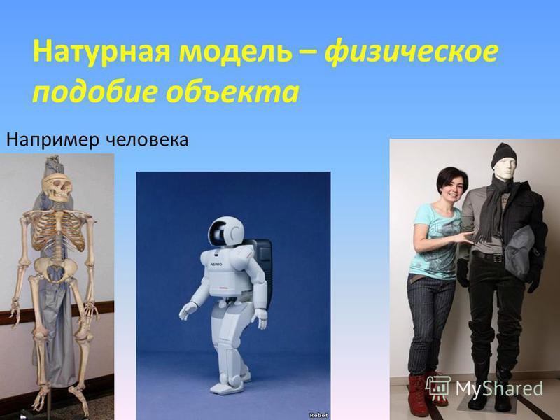 Натурная модель – физическое подобие объекта Например человека