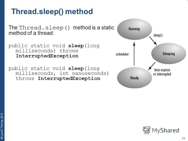 11 © Luxoft Training 2013 The Thread.sleep() method is a static method of a thread: public static void sleep(long milliseconds) throws InterruptedException public static void sleep(long milliseconds, int nanoseconds) throws InterruptedException Threa