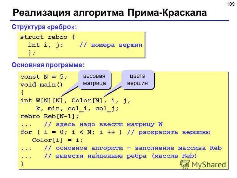 109 Реализация алгоритма Прима-Краскала Структура «ребро»: struct rebro { int i, j; // номера вершин }; struct rebro { int i, j; // номера вершин }; constN = 5; void main() { int W[N][N], Color[N], i, j, k, min, col_i, col_j; rebro Reb[N-1];...// зде