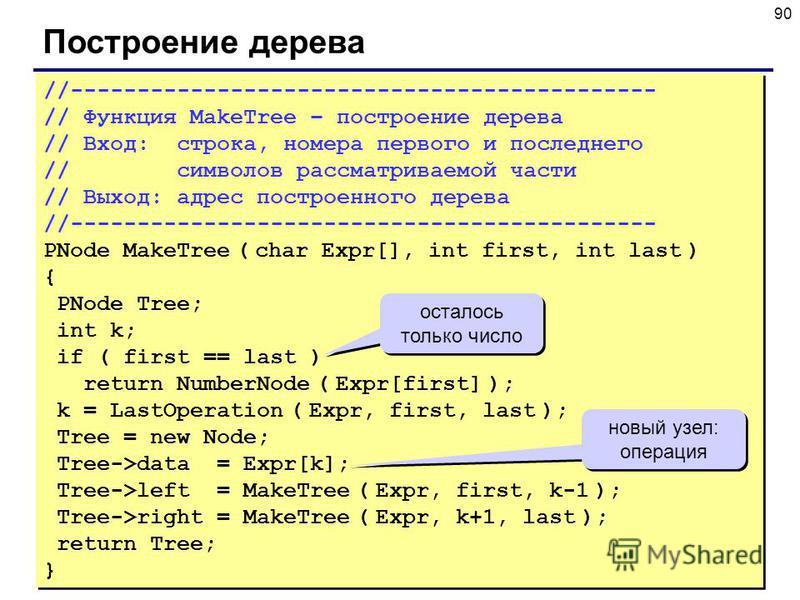 90 Построение дерева //-------------------------------------------- // Функция MakeTree – построение дерева // Вход: строка, номера первого и последнего // символов рассматриваемой части // Выход: адрес построенного дерева //-------------------------