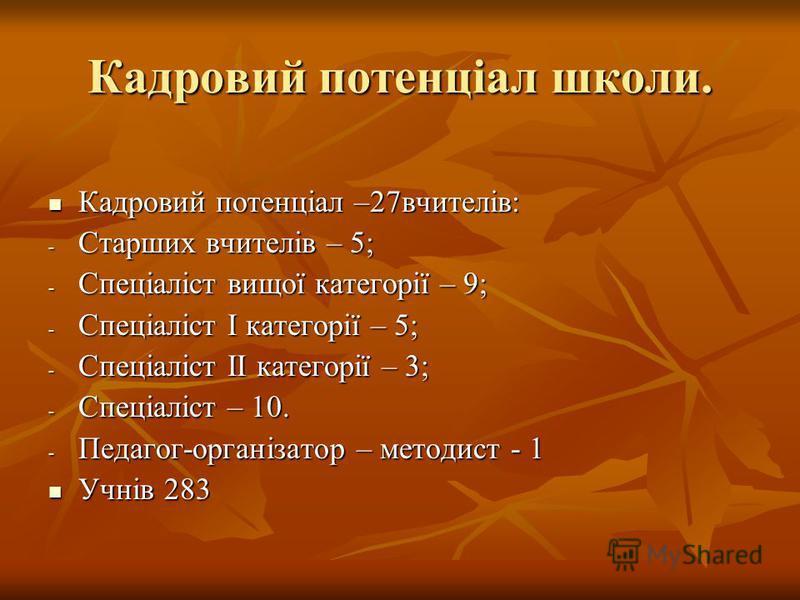 Кадровий потенціал школи. Кадровий потенціал –27вчителів: -С-С-С-Старших вчителів – 5; -С-С-С-Спеціаліст вищої категорії – 9; -С-С-С-Спеціаліст I категорії – 5; -С-С-С-Спеціаліст II категорії – 3; -С-С-С-Спеціаліст – 10. -П-П-П-Педагог-організатор –