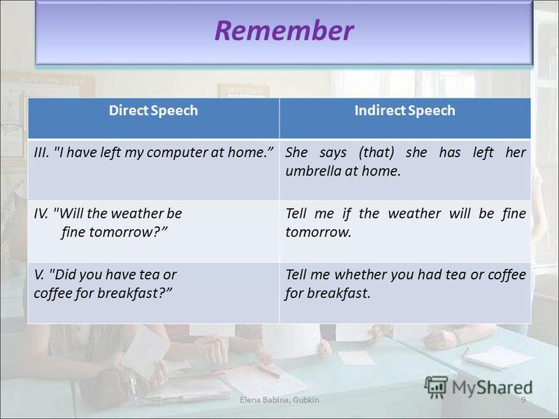 Direct SpeechIndirect Speech III.