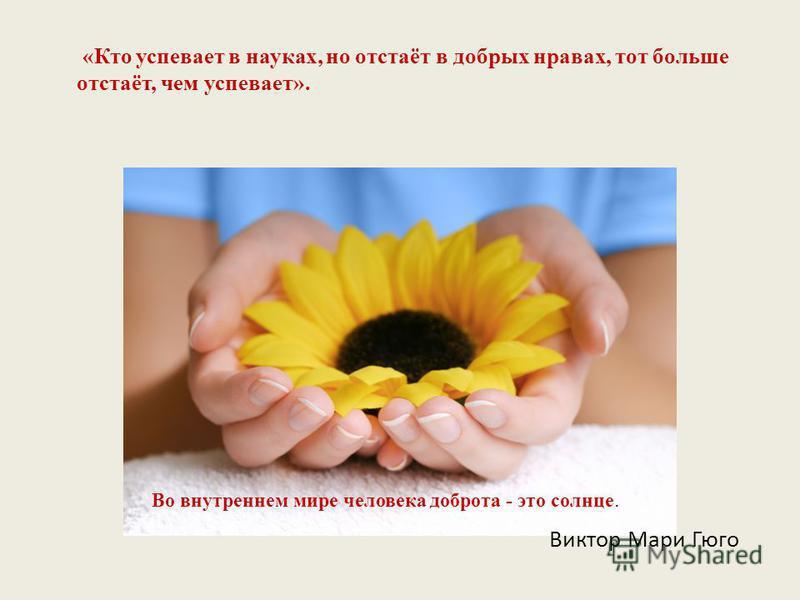 Виктор Мари Гюго «Кто успевает в науках, но отстаёт в добрых нравах, тот больше отстаёт, чем успевает». Во внутреннем мире человека доброта - это солнце.
