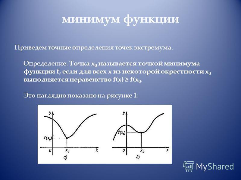 минимум функции Приведем точные определения точек экстремума. Определение. Точка x 0 называется точкой минимума функции f, если для всех x из некоторой окрестности x 0 выполняется неравенство f(x) f(x 0. Это наглядно показано на рисунке 1: