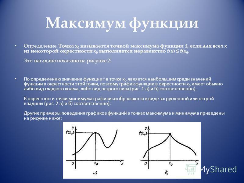 Максимум функции Определение. Точка x 0 называется точкой максимума функции f, если для всех x из некоторой окрестности x 0 выполняется неравенство f(x) f(x 0. Это наглядно показано на рисунке 2: По определению значение функции f в точке x 0 является