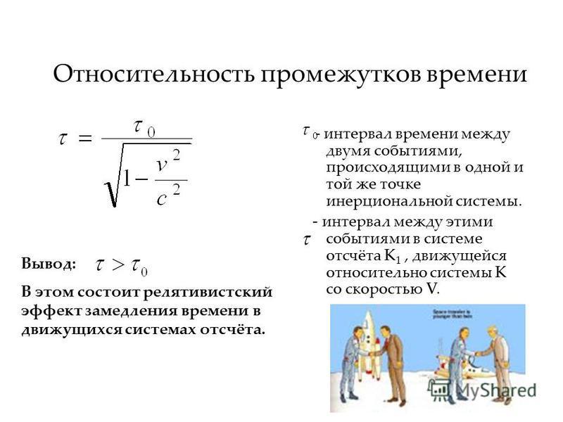 Относительность промежутков времени - интервал времени между двумя событиями, происходящими в одной и той же точке инерциальной системы. - интервал между этими событиями в системе отсчёта К 1, движущейся относительно системы К со скоростью V. Вывод: