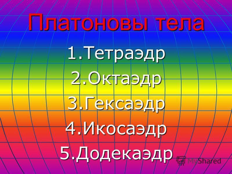 Платоновы тела 1.Тетраэдр 2.Октаэдр 3.Гексаэдр 4.Икосаэдр 5.Додекаэдр