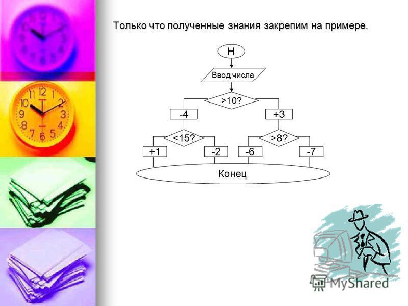 Только что полученные знания закрепим на примере. Н Ввод числа >10? +3 >8? -7-6 -4 <15? -2+1 Конец