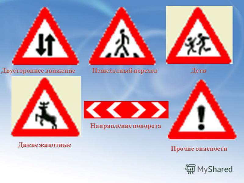 Предупреждающие Знаки Железнодорожный переезд со шлагбаумом Пересечение равнозначных дорог Светофорное регулирование Опасные повороты Сужение дороги