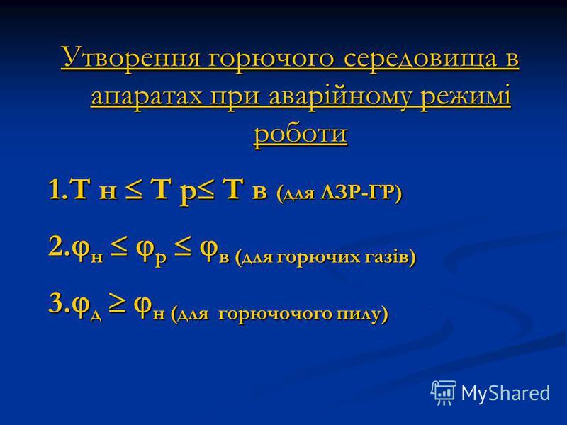 Утворення горючого середовища в апаратах при аварійному режимі роботи 1.T н T р T в (для ЛЗР-ГР) 2. н р в (для горючих газів) 3. д н (для горючочого пилу)