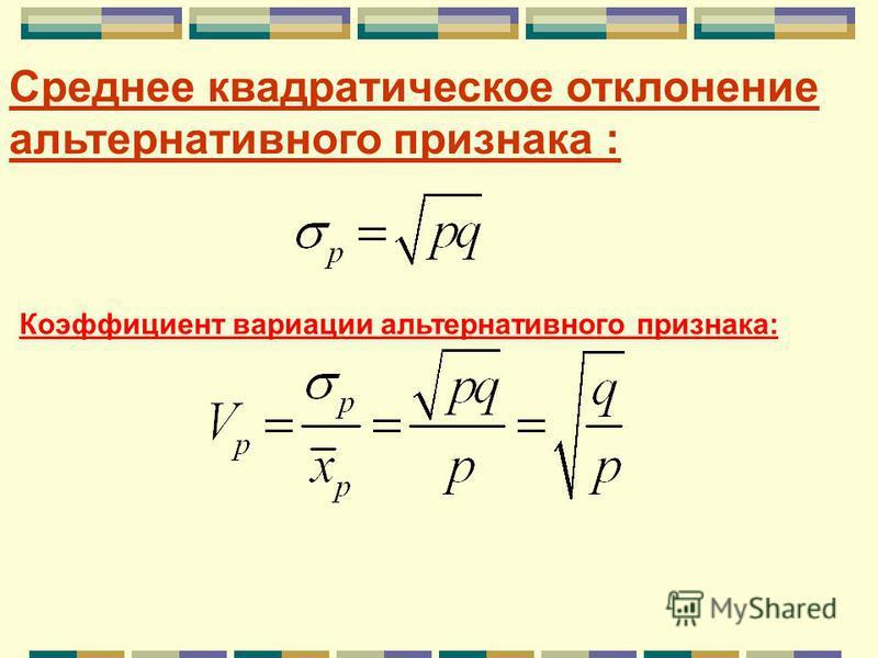 Дисперсия альтернативного признака : Максимальное значение дисперсии альтернативного признака 0,25