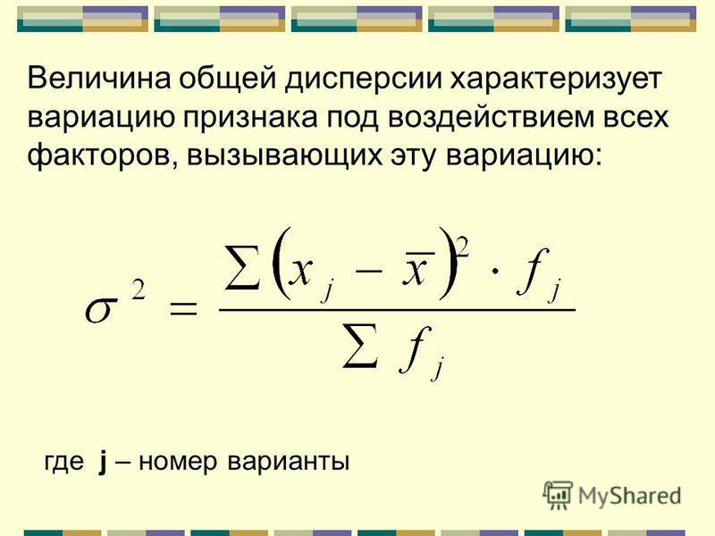 1) общую 2) межгрупповую 3) внутригрупповую Выделяют дисперсии: