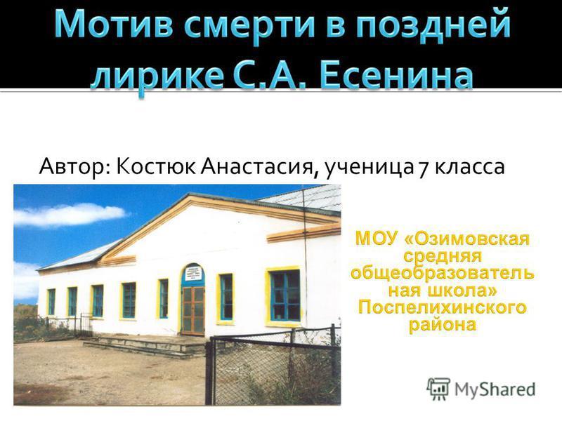 Автор: Костюк Анастасия, ученица 7 класса