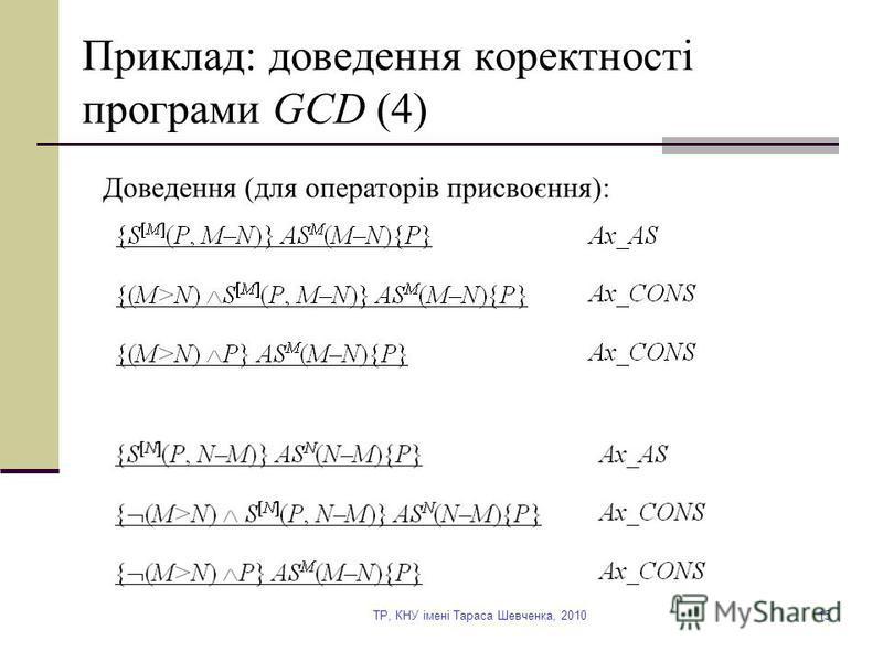 TP, КНУ імені Тараса Шевченка, 201015 Приклад: доведення коректності програми GCD (4) Доведення (для операторів присвоєння):