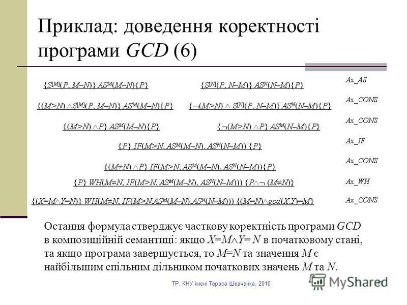 TP, КНУ імені Тараса Шевченка, 201017 Приклад: доведення коректності програми GCD (6) Остання формула стверджує часткову коректність програми GCD в композиційній семантиці: якщо X=M Y= N в початковому стані, та якщо програма завершується, то M=N та з