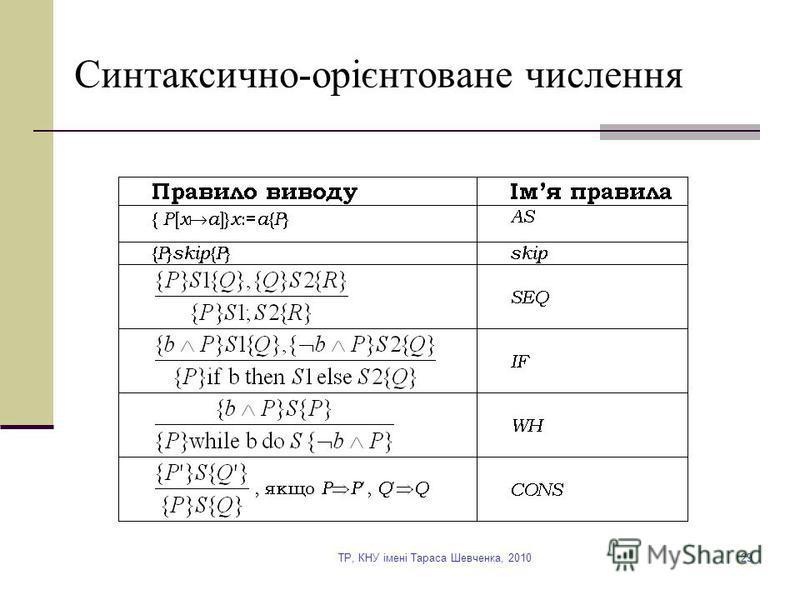 TP, КНУ імені Тараса Шевченка, 201029 Синтаксично-орієнтоване числення