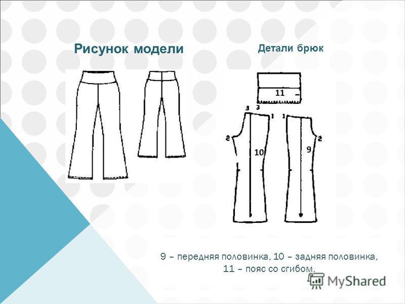 Рисунок модели Детали брюк 9 – передняя половинка, 10 – задняя половинка, 11 – пояс со сгибом.