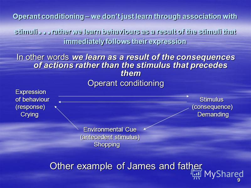 9 Operant conditioning – we dont just learn through association with stimuli … rather we learn behaviours as a result of the stimuli that immediately follows their expression In other words we learn as a result of the consequences of actions rather t