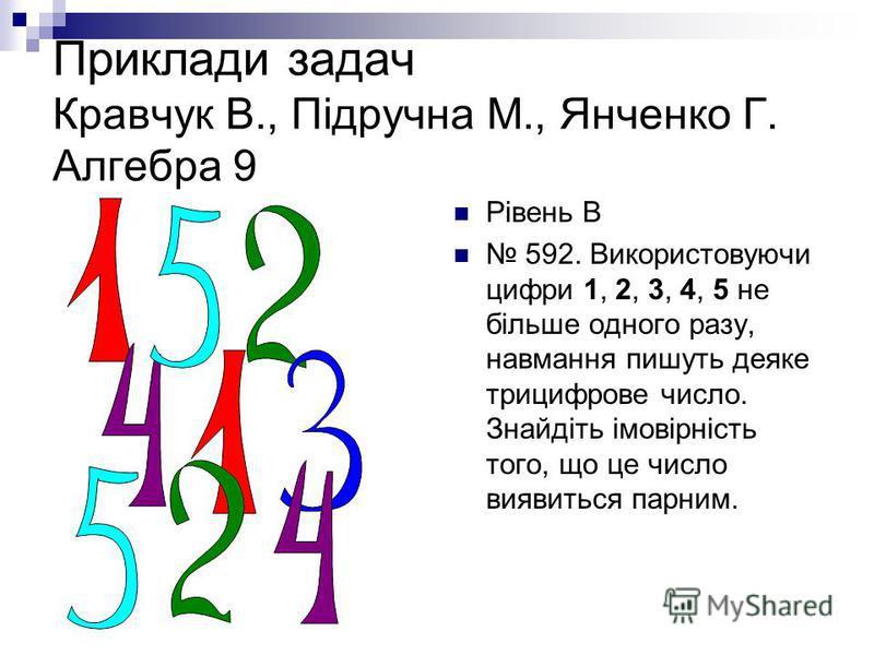 Приклади задач Кравчук В., Підручна М., Янченко Г. Алгебра 9 Рівень В 592. Використовуючи цифри 1, 2, 3, 4, 5 не більше одного разу, навмання пишуть деяке трицифрове число. Знайдіть імовірність того, що це число виявиться парним.