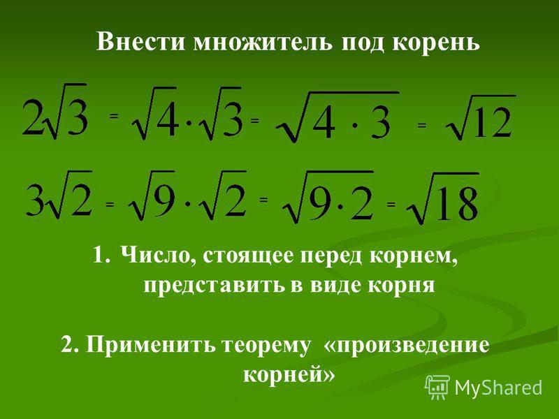 = == = = = 1.Число, стоящее перед корнем, представить в виде корня 2. Применить теорему «произведение корней» Внести множитель под корень