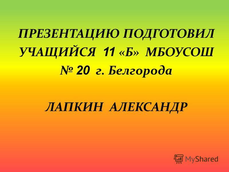ПРЕЗЕНТАЦИЮ ПОДГОТОВИЛ УЧАЩИЙСЯ 1 1 «Б» МБОУСОШ 2 0 г. Белгорода ЛАПКИН АЛЕКСАНДР