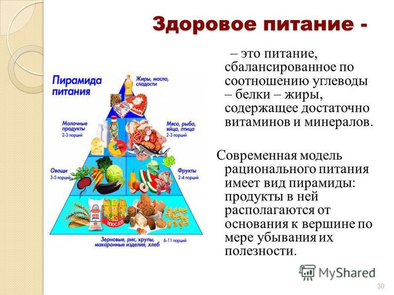 Здоровое питание - – это питание, сбалансированное по соотношению углеводы – белки – жиры, содержащее достаточно витаминов и минералов. Современна я модель рационального питания имеет вид пирамиды: продукты в ней располагаются от основания к вершине