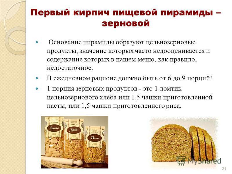 Первый кирпич пищевой пирамиды – зерновой Основание пирамиды образуют цельнозерновые продукты, значение которых часто недооценивается и содержание которых в нашем меню, как правило, недостаточное. В ежедневном рационе должно быть от 6 до 9 порций! 1