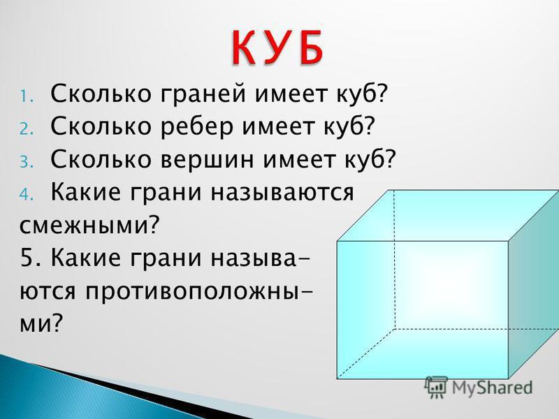 1. Сколько граней имеет куб? 2. Сколько ребер имеет куб? 3. Сколько вершин имеет куб? 4. Какие грани называются смежными? 5. Какие грани называются противоположны- ми?