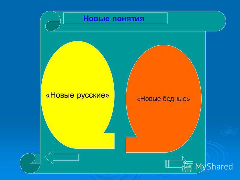 «Новые русские» « Новые бедные» Новые понятия
