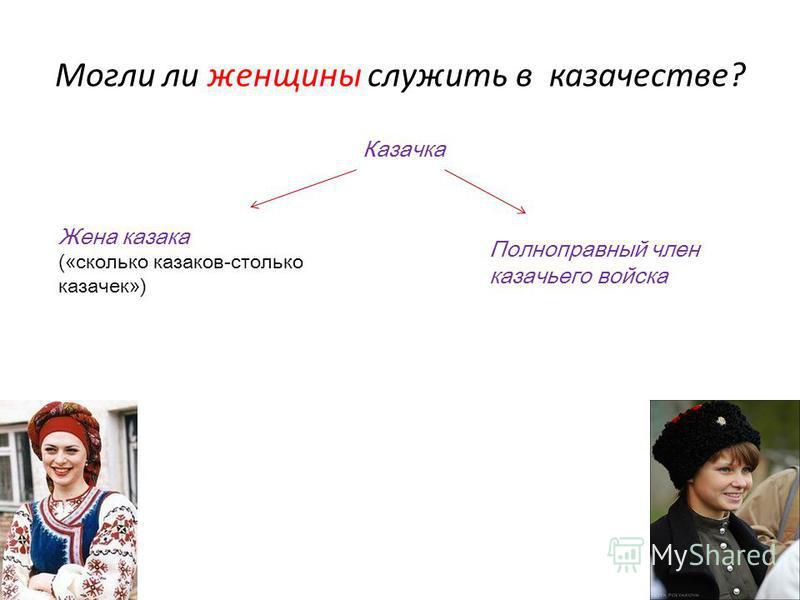 Могли ли женщины служить в казачестве? Казачка Жена казака («сколько казаков-столько казачек») Полноправный член казачьего войска