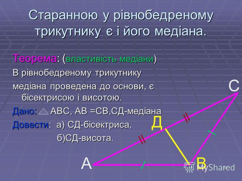 12 Старанною у рівнобедреному трикутнику є і його медіана. Теорема: ( властивість медіани) В рівнобедреному трикутнику медіана проведена до основи, є бісектрисою і висотою. Дано: АВС, АВ =СВ,СД-медіана Довести: а) СД-бісектриса, б)СД-висота. б)СД-вис