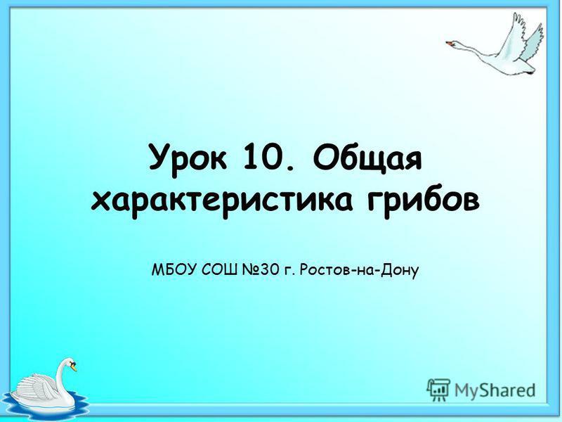 Урок 10. Общая характеристика грибов МБОУ СОШ 30 г. Ростов-на-Дону