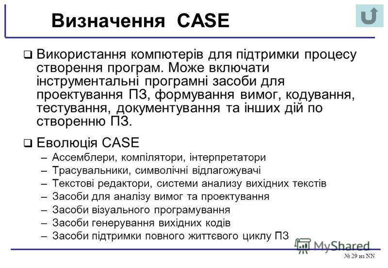 29 из NN Визначення CASE Використання компютерів для підтримки процесу створення програм. Може включати інструментальні програмні засоби для проектування ПЗ, формування вимог, кодування, тестування, документування та інших дій по створенню ПЗ. Еволюц
