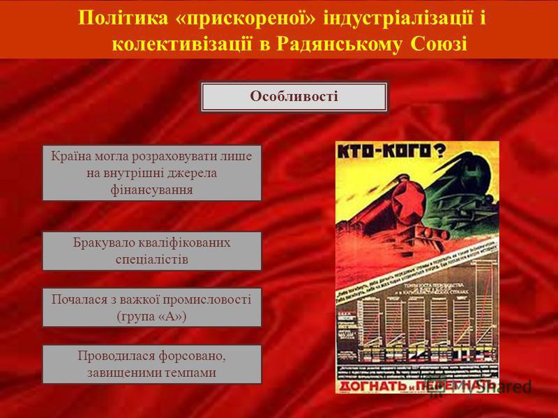 Політика «прискореної» індустріалізації і колективізації в Радянському Союзі Країна могла розраховувати лише на внутрішні джерела фінансування Бракувало кваліфікованих спеціалістів Проводилася форсовано, завищеними темпами Почалася з важкої промислов