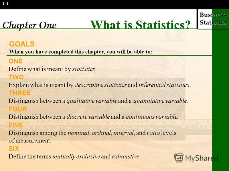 Business Statistics 1-1 Chapter One What is Statistics? GOALS When you have completed this chapter, you will be able to: ONE Define what is meant by statistics. TWO Explain what is meant by descriptive statistics and inferential statistics. THREE Dis