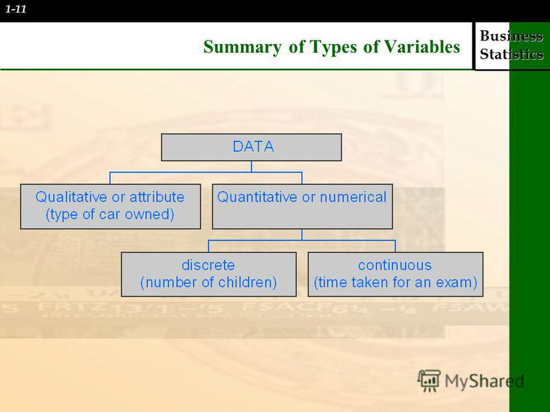 Business Statistics Summary of Types of Variables 1-11