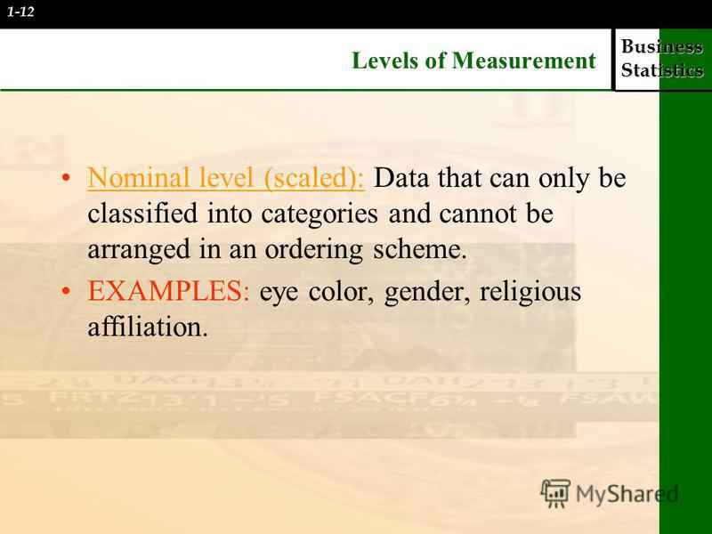 Business Statistics Levels of Measurement Nominal level (scaled): Data that can only be classified into categories and cannot be arranged in an ordering scheme. EXAMPLES: eye color, gender, religious affiliation. 1-12