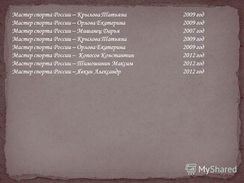 Мастер спорта России – Крылова Татьяна 2009 год Мастер спорта России – Орлова Екатерина 2009 год Мастер спорта России – Мишанец Дарья 2007 год Мастер спорта России – Крылова Татьяна 2009 год Мастер спорта России – Орлова Екатерина 2009 год Мастер спо
