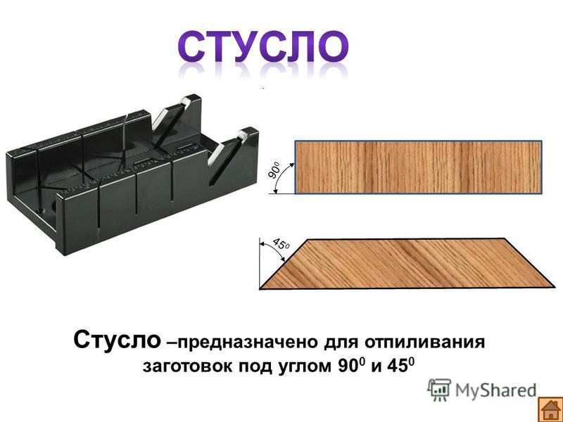 Стусло –предназначено для отпиливания заготовок под углом 90 0 и 45 0 45 0 90 0